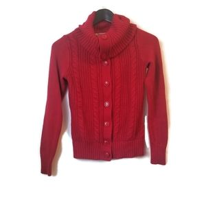⚡ Women's red cozy cable knit button front sweater